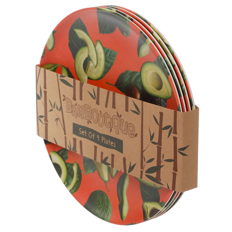 Bamboo Composite Avocado Set of 4 Plates