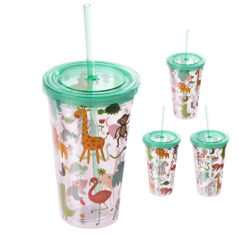 Funky Zoo Animals Double Wall Lidded Cup and Straw