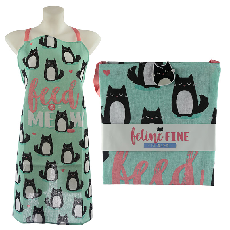 Fun Cat Design Poly Cotton Apron