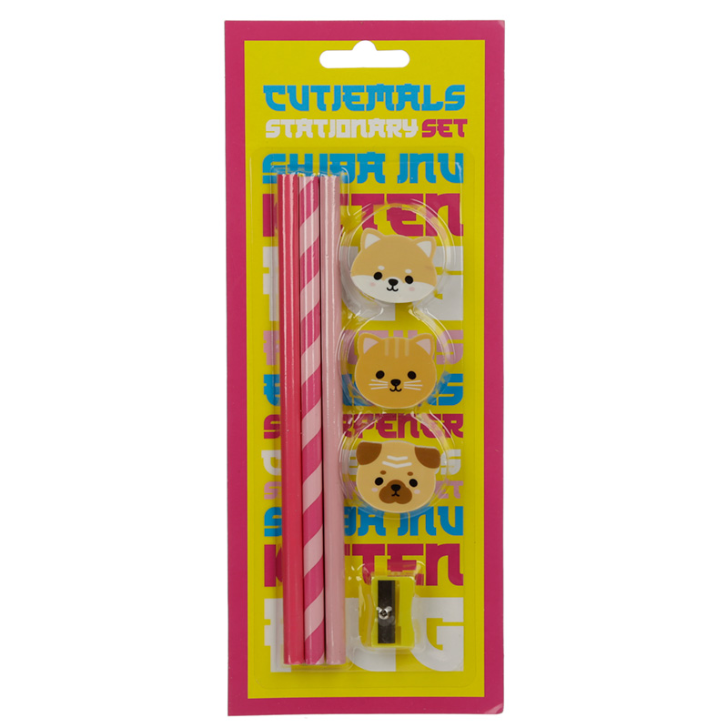 Cutiemals Pug, Cat and Shiba Inu 7 Piece Stationery Set