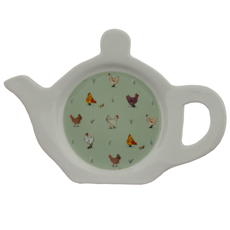 Porcelain Teabag Dish/Holder - Willow Farm Chickens