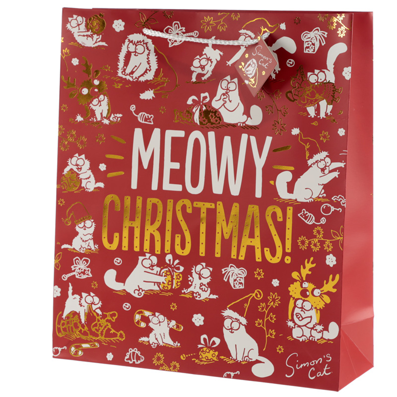 Meowy Christmas Simon's Cat Extra Large Christmas Gift Bag