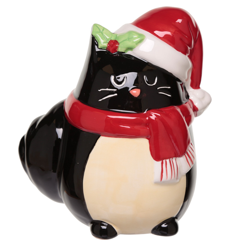 Collectable Ceramic Feline Festive Cat Christmas Money Box